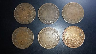 Canada Large Cent Coin Lot - 6 Coins - Early 1900's