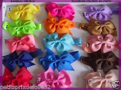 Bandeau Bebe Fille Ribbon Serre tête Noeud Baby bow Ruban Headband Elastisque