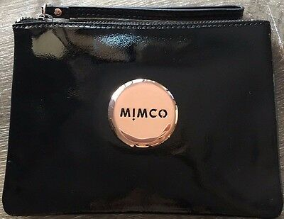 MIMCO Black Patent Leather Rose Gold Medium Pouch Clutch Wallet Purse AUTH