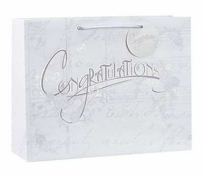 Congratulations Silver Foil Luxury Gift Bag - Choice of Small, Medium or Large