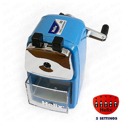 Helix Desktop Rotary Pencil Sharpener Metal Heavy Duty Body & Desk Clamp Blue