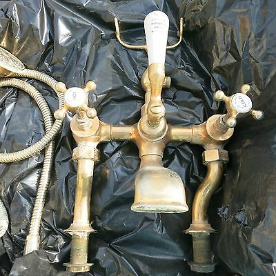 Brass bath taps with shower Barber & Wilsons 1905 attachment vintage pair