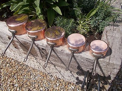 Superb Quality Thick Set French Vintage 5 Lined Copper Pans Ref T11/145