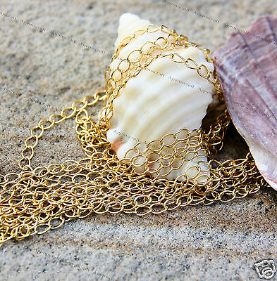 2 meters Gold plated slightly twisted beading unfinished chain 5x3mm links new