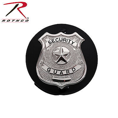 Security Guard Police Officer Round Badge Shield Leather Clip on Belt Holder