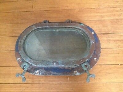 "Vtg Wilcox Crittenden 12"" Bronze Porthole Portlight Nautical 9"" Glass & Screen"
