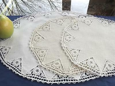 3 Antique Hand Crafted Homespun Linen 1 Oval 2 Round Doilies Schiffli Lace