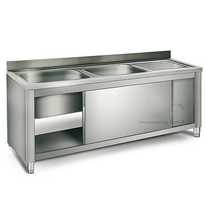 """EQ Commercial Stainless Steel 2 Compartment Sink Backsplash Storage Cabinet 24""""W"""