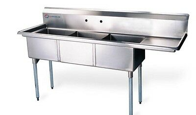 """EQ 3 Commercial Compartment Sink Kitchen Stainless Steel 54.5""""x19.5""""x43.75"""""""