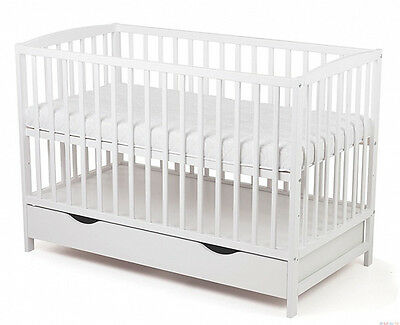 BABY CHILD WODEN WHITE COT WITH DRAWER + FREE FOAM MATTRESS size 120x60cm