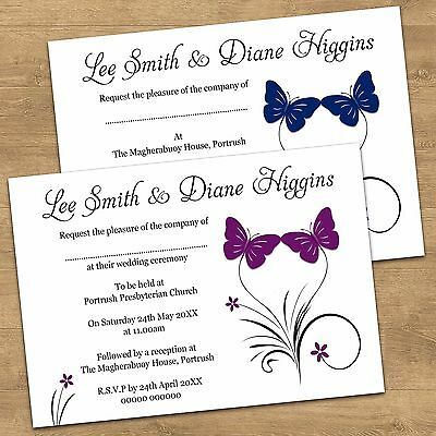 Personalised Butterfly Day Wedding Invitations Or Evening Invites With Envelopes
