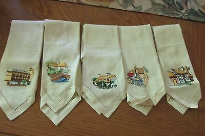 Old English Cottages Set of Five Embroidered Linen Tea Towels/Napkins Made in UK