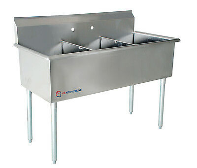 """EQ 3 Compartment Commercial Kitchen Sink Stainless Steel 39""""x24.5""""x43.75"""""""