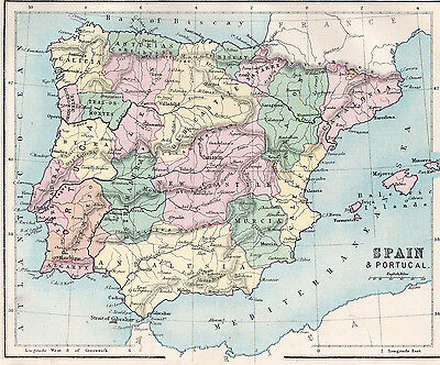 Map of Spain and Portugal 1893  Original Antique