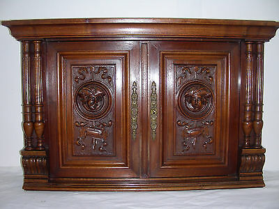 Antique  french wood panel door face Carving Old furniture Medieval character