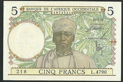 French West Africa (Dark Blue) 5 Francs 1938 Pick-21 Unc- Banknote