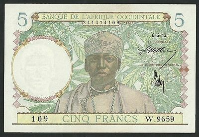 French West Africa (Light Blue) 5 Francs 1942 Pick-25 Unc- Banknote