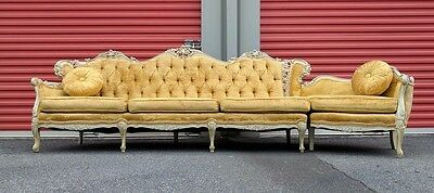 French Provincial Hollywood Regency Sofa Armchairs Louis XVI & Drum Side Table