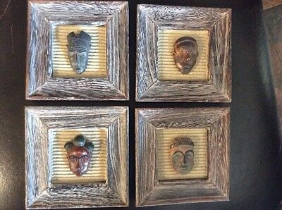 """Lot Of 4 Wood Plaques With African Masks. 5""""X5"""" Frames"""