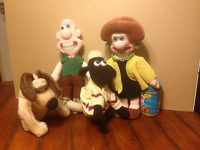 Lot Vintage 1989 Born To Play Wallace & GROMIT & Shaun The Sheep Toy Plush Dolls