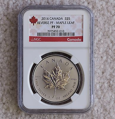 2014 Canada Silver Maple Leaf  Reverse Proof  $5  NGC PF70