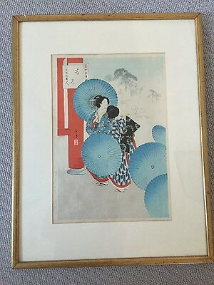 JAPANESE GEISHA GIRLS PRINT with blue umbrellas GOOD CONDITION