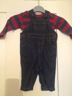 Baby Boy Marks Spencer M&s Denim Dungaree Stripe Top Set Age 3 6 Months