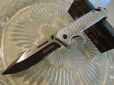 """Tac-Force Assisted Open Silver Combat Rescue Tactical Pocket Knife 916SL 9"""" Open"""