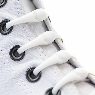 White Shoe Laces Lacing System Elastic Hickies Kids Teens No Tie Shoelaces New