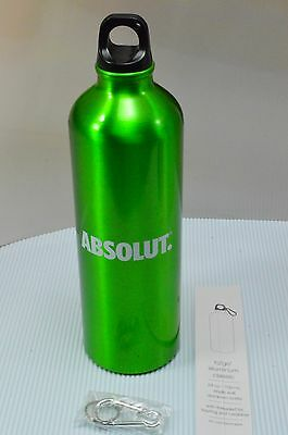 New Absolut Vodka Green 24oz Aluminum Water Bottle + Carabiner Clip Collectible