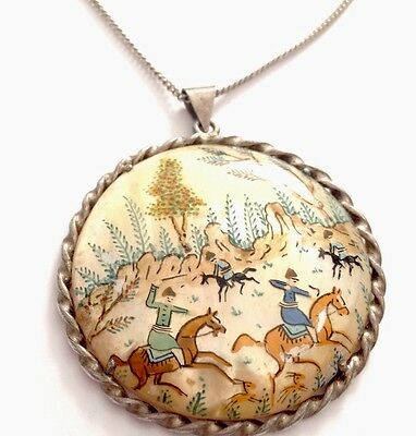 """Vintage Silver & Hand Painted Persian Shell Pendant & 19"""" Chain Necklace"""