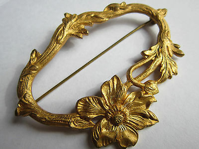 Large Antique Art Nouveau Gold Brooch