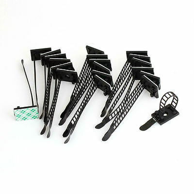 Self-Adhesive Black CL-2 2CM/2.5CM Adjustable Cable Tie Organiser Clip