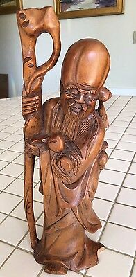Shou Lao Chinese Wood Carved Carving Figurine God of Longevity Peach
