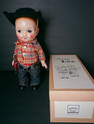 Buddy Lee Hard Plastic Doll in Old Cowboy Outfit with Box