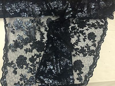 Navy Blue Roses Embroider With Sequins On A Vintage Mesh Lace Fabric-by Yard-