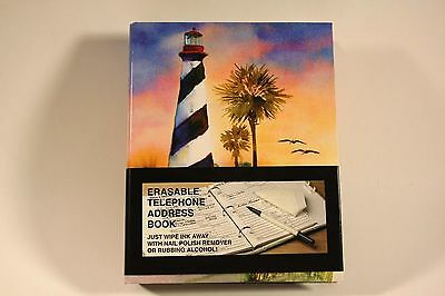 "NICE Lighthouse ERASABLE Telephone Address Emails Passwords Book 9"" x 7-1/4"""