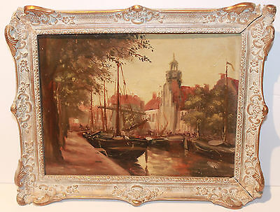"""Antique Painting by BERNARD- French, 19th/20th Century-Oil,Signed- """"Boats"""""""