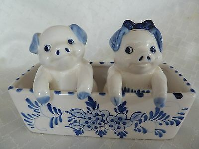 Vintage Delft Blue Pig Salt & Pepper Shakers in a Trough - Handpainted - Holland