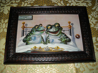 FROGS HAVE BREAKFAST 4 X 6 brown framed animal picture Victorian style art print