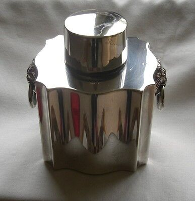 ART DECO 1920s MAPPIN & WEBB PRINCES SILVER PLATE TEA CADDY WITH LION MASK RINGS