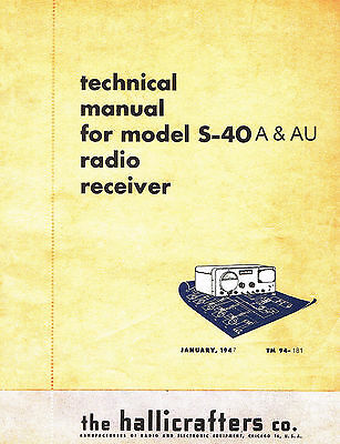 Hallicrafters S-40A and S-40AU  S40A & S40AU Operating & Service Manual