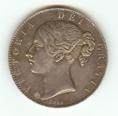 Uk 1844 Crown, Scarce This Nice!!! Silver!!! Mintage 94K !!!