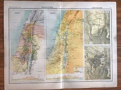 Original 1898 Antique Map of Palestine and Jerusalem. Shows Ancient and Modern