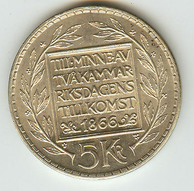 SWEDEN 1966 5 KRONOR SILVER CROWN 100th ANN CONSTITUTION ONLY 1M MINTED!!!