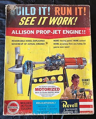 Original Revell Allison Prop Jet Engine Plastic Motorized Model Kit 1960 MIB