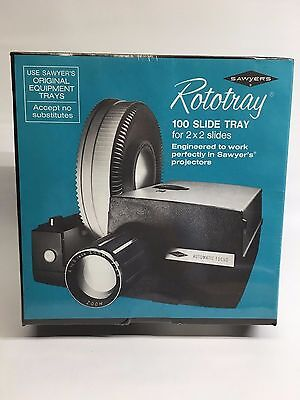 """Lot of 2 Sawyer's """"Rototray"""" Rotary Slide Trays for 100 2x2 Slides Each"""