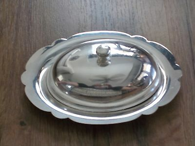 Vintage Art S Co Silverplate Lidded Butter Dish Cheese Dome Scalloped