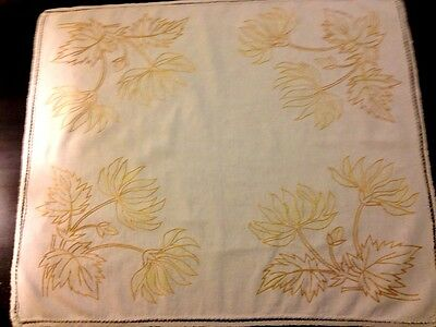 Lovely Old Vintage Primitive Country Style Hand Embroidered White Tea Tablecloth