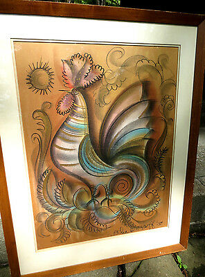 RARE Sascha Brastoff Rooster Pastel Drawing Painting Artist Signed 1958 Nice!
